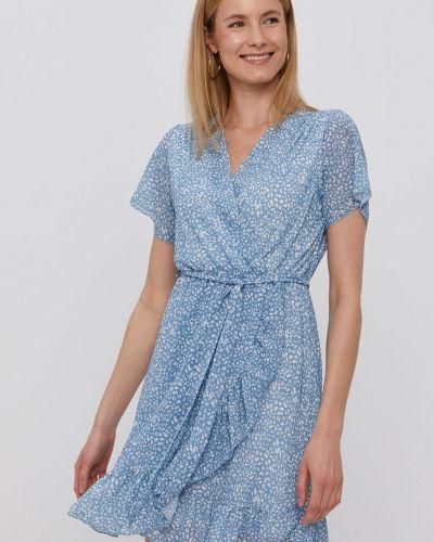 Niebieska sukienka mini rozkloszowana z falbanami Hailys