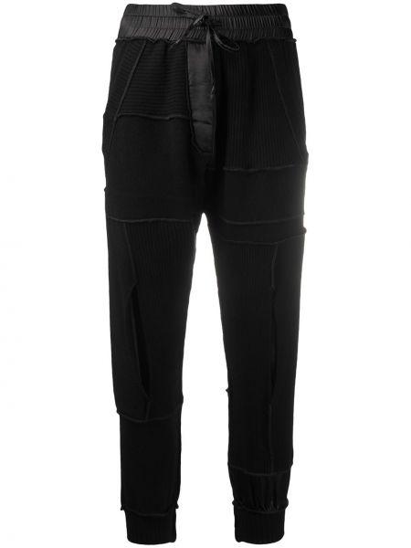 Спортивные шелковые черные укороченные брюки с поясом Andrea Ya'aqov