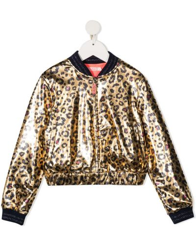 Золотистая черная длинная куртка с карманами Billieblush