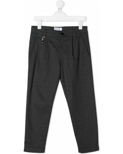 Темно-серые прямые прямые брюки стрейч с вышивкой Dondup Kids