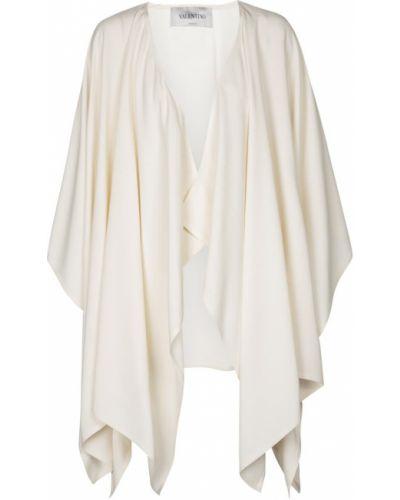 Asymetryczny biały peleryna z wiskozy z draperią Valentino