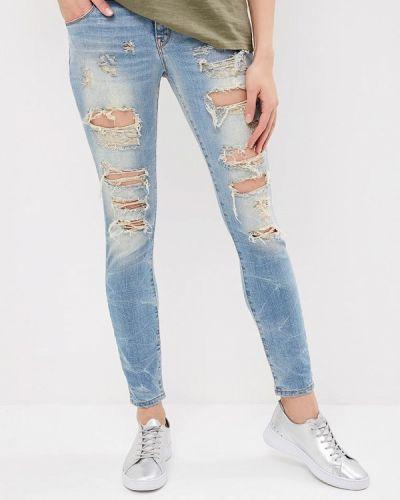 Голубые джинсы-скинни Met
