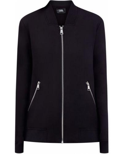 Черная толстовка с карманами с декоративной отделкой Karl Lagerfeld