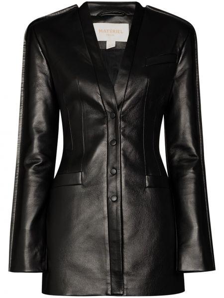 Черная кожаная куртка на пуговицах из искусственной кожи Matériel