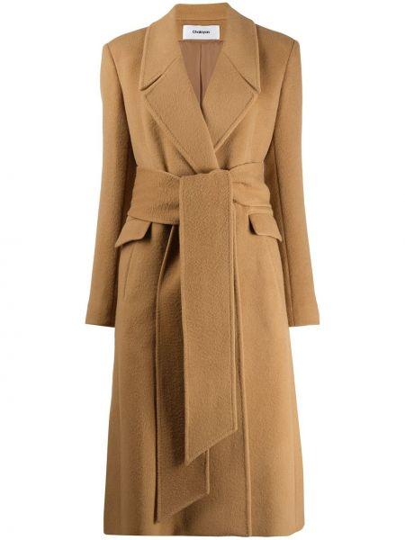 Кашемировое длинное пальто с капюшоном с запахом Chalayan