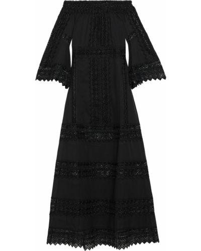 Хлопковое кружевное черное платье макси Charo Ruiz Ibiza
