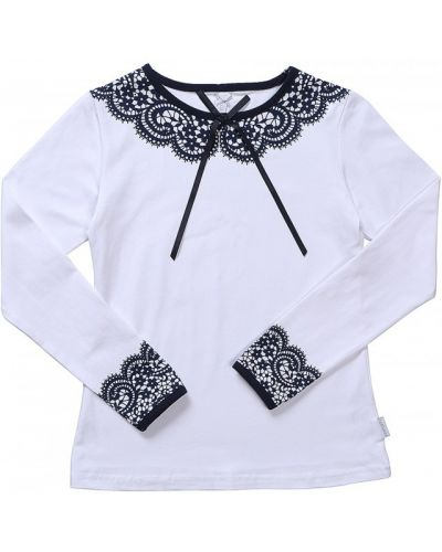 Школьная ажурная блуза со стразами с длинными рукавами Luminoso