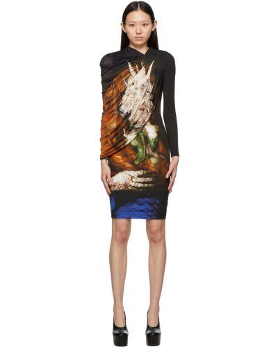 Платье макси с длинными рукавами - черное Burberry