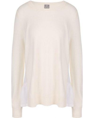 Тонкий трикотажный белый пуловер Ftc
