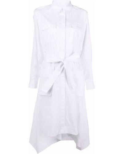 Белое платье макси с поясом с воротником Iceberg