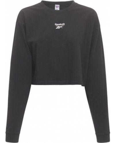 Хлопковая черная футболка с длинными рукавами Reebok Classics