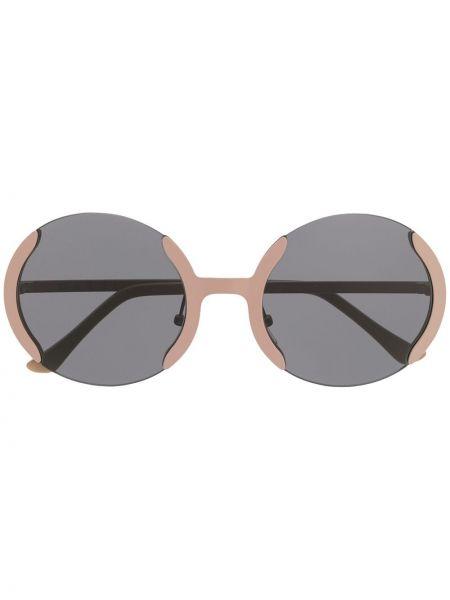 Прямые муслиновые розовые солнцезащитные очки круглые Marni Eyewear