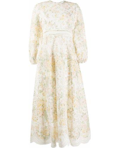 Белое платье миди с вышивкой с вырезом с подкладкой Zimmermann