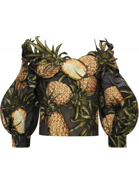 Шелковая черная блузка на пуговицах Oscar De La Renta
