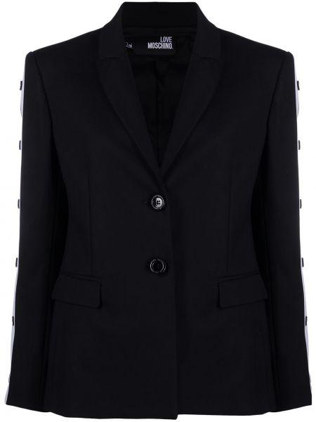 Прямой черный удлиненный пиджак с подкладкой Love Moschino