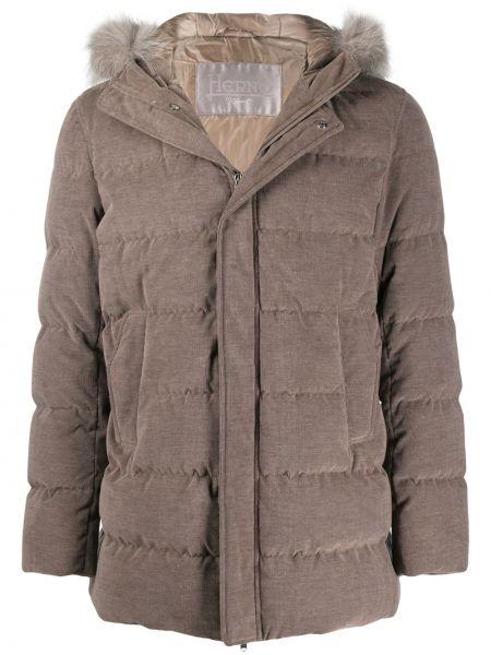 Bawełna bawełna długi płaszcz z długimi rękawami z kapturem Herno