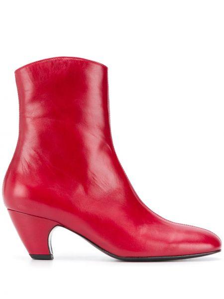 Красные кожаные ботильоны на каблуке на молнии Dorateymur