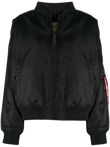 С рукавами черная длинная куртка с манжетами Alpha Industries