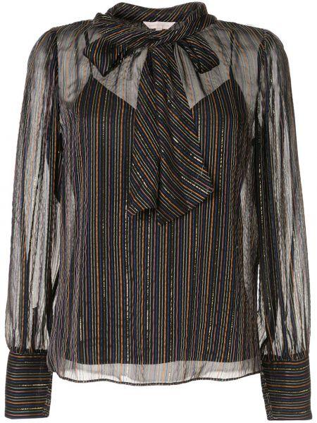 Czarna bluzka z długimi rękawami w paski Rebecca Taylor
