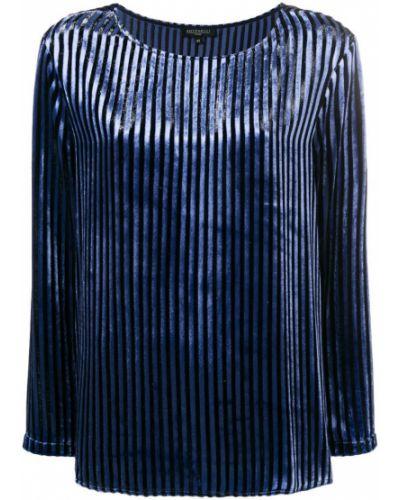 Блузка с длинным рукавом в полоску синяя Antonelli