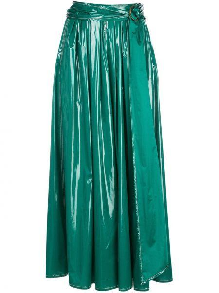 Зеленая шелковая с завышенной талией юбка макси с поясом Sies Marjan