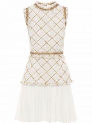 Платье мини в клетку - белое Oscar De La Renta