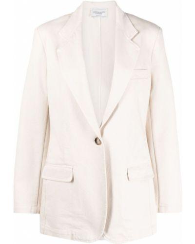Белый классический пиджак с вышивкой на пуговицах Forte Dei Marmi Couture