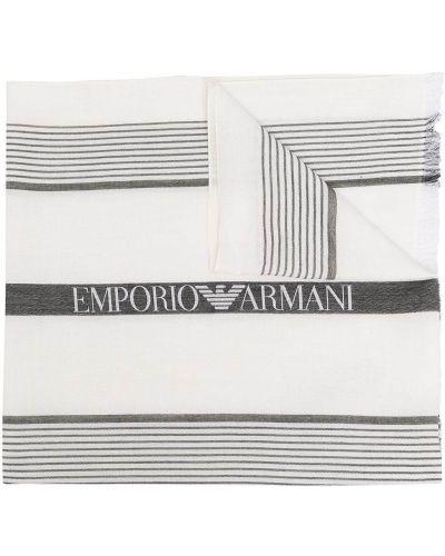 Biały szalik w paski bawełniany Emporio Armani