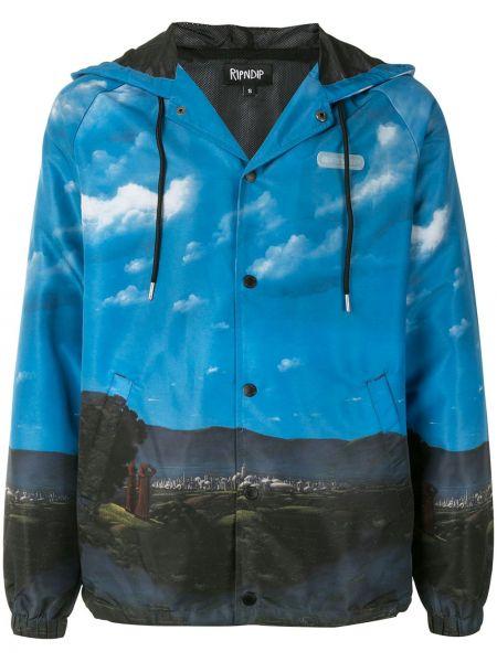 Niebieski długa kurtka z mankietami z kapturem z długimi rękawami Ripndip