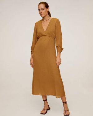 Платье миди на пуговицах с V-образным вырезом Mango