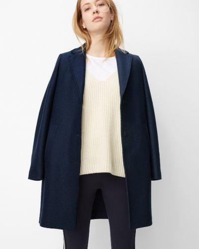 Синее шерстяное пальто классическое на пуговицах Marc O' Polo