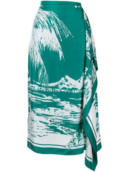 Длинная зеленая шелковая юбка с поясом Tibi