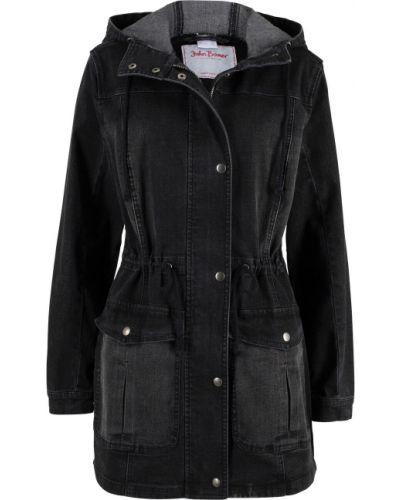 Джинсовая куртка с капюшоном укороченная Bonprix
