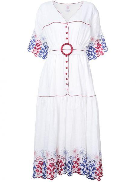 Белое льняное платье с вышивкой Gül Hürgel