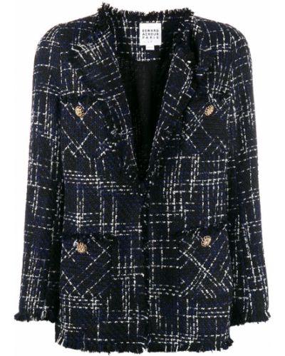 Приталенный синий классический пиджак с карманами Edward Achour Paris