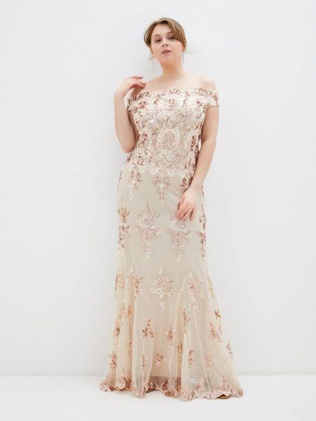 Бежевое вечернее платье Goddiva Size Plus