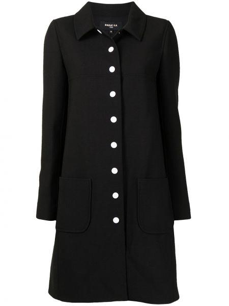 Черное пальто с воротником Paule Ka