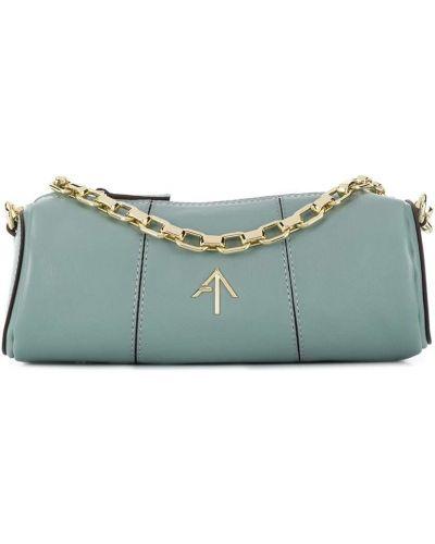 Золотистая синяя маленькая сумка на молнии Manu Atelier
