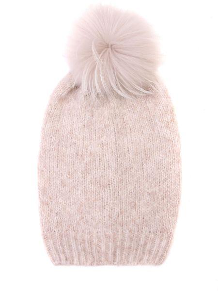 Хлопковая бежевая классическая шапка с помпоном Panicale