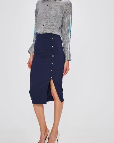 Синяя юбка карандаш с поясом в рубчик Miss Poem