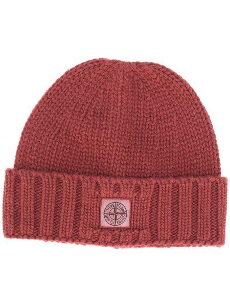 Brązowy trykotowy wełniany czapka zimowa z łatami Stone Island
