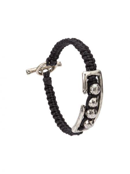 Черный плетеный браслет на пуговицах Tobias Wistisen