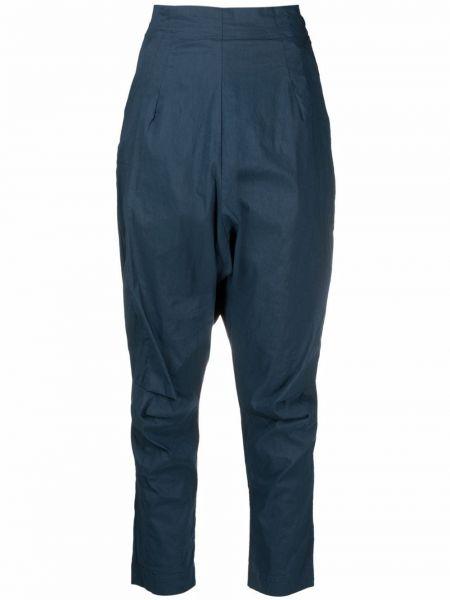 Синие хлопковые брюки с заниженным шаговым швом с завышенной талией Rundholz