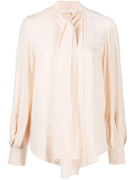 Розовая шелковая блузка с бантом Chloé