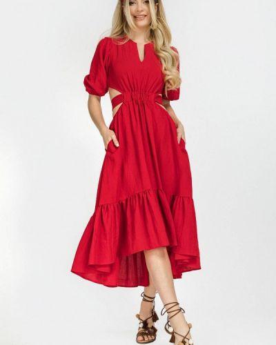 Красное прямое платье Clever Woman Studio