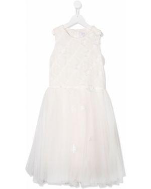 Biała sukienka tiulowa bez rękawów Aletta
