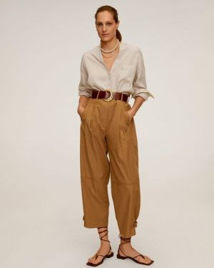 Рубашка с длинным рукавом льняная с карманами Mango
