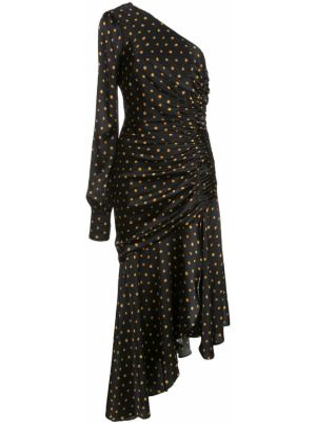 Черное шелковое платье миди на одно плечо Haney