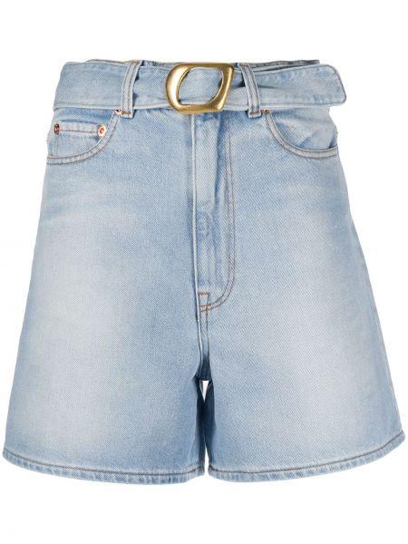 Прямые джинсовые шорты с карманами со стразами Magda Butrym