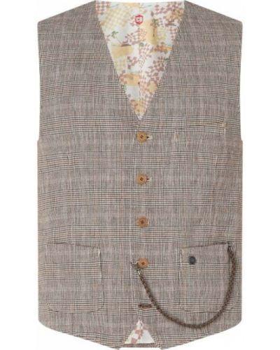 Brązowa kamizelka bawełniana z dekoltem w serek Cg - Club Of Gents